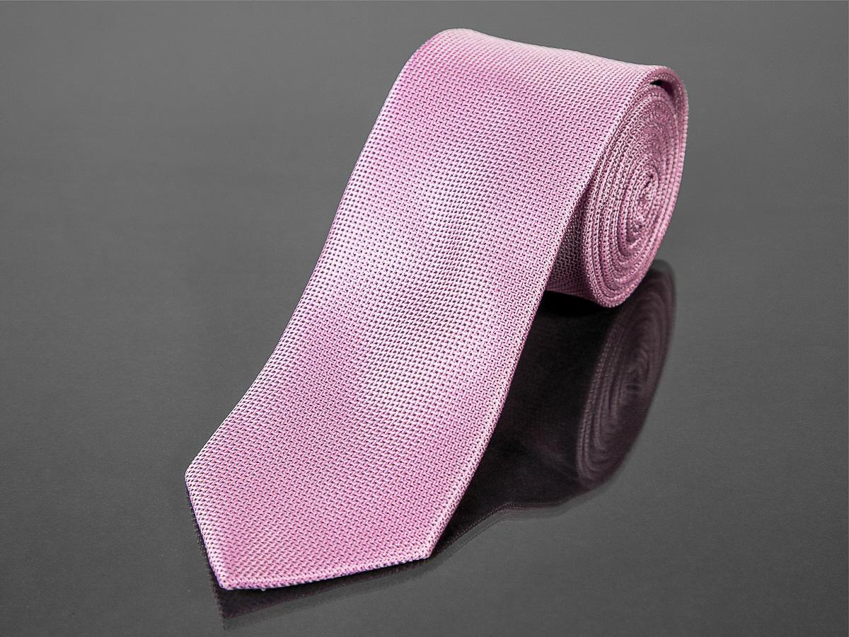 Kravata pánská AMJ, jemný tečkový vzor KU1007, růžová