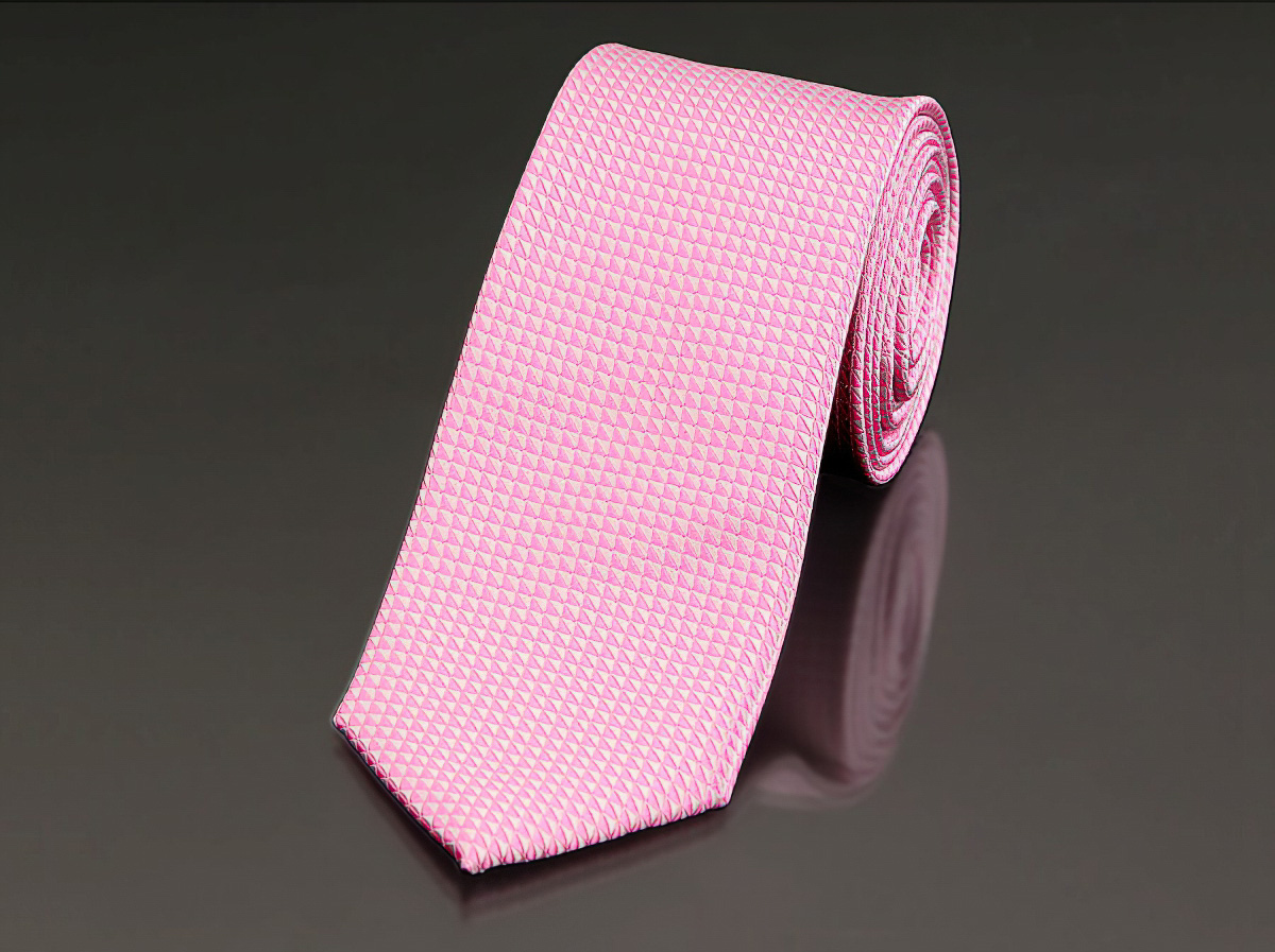 Kravata pánská AMJ úzká vzorovaná KU0630, růžová
