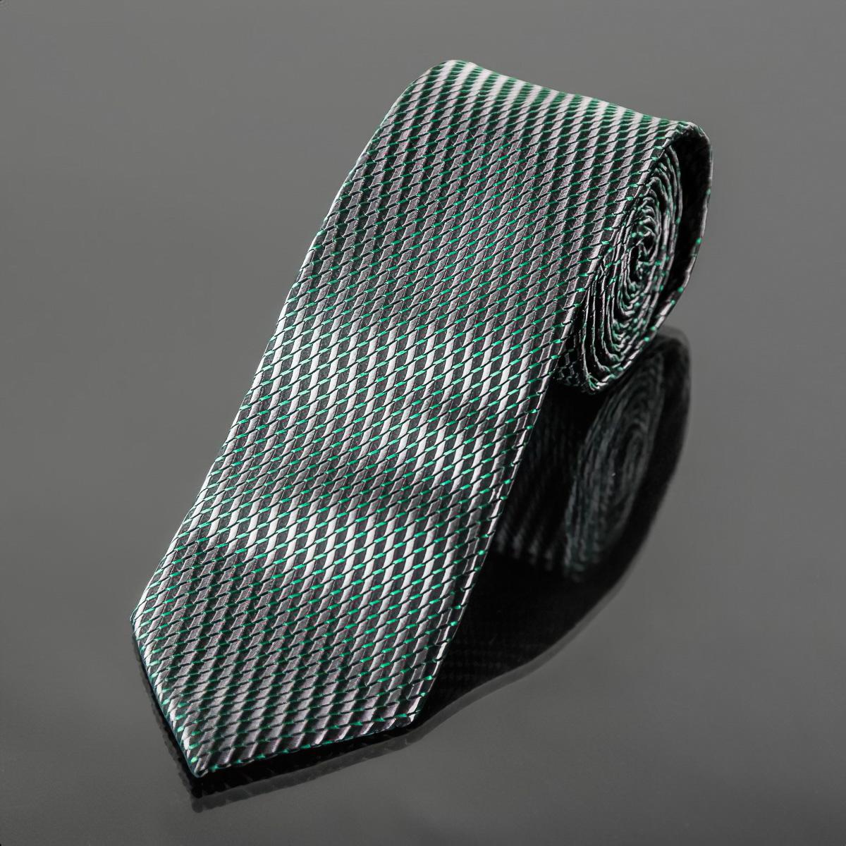 Kravata pánská AMJ, jemný šikmý vzor KU1093, šedo zelená