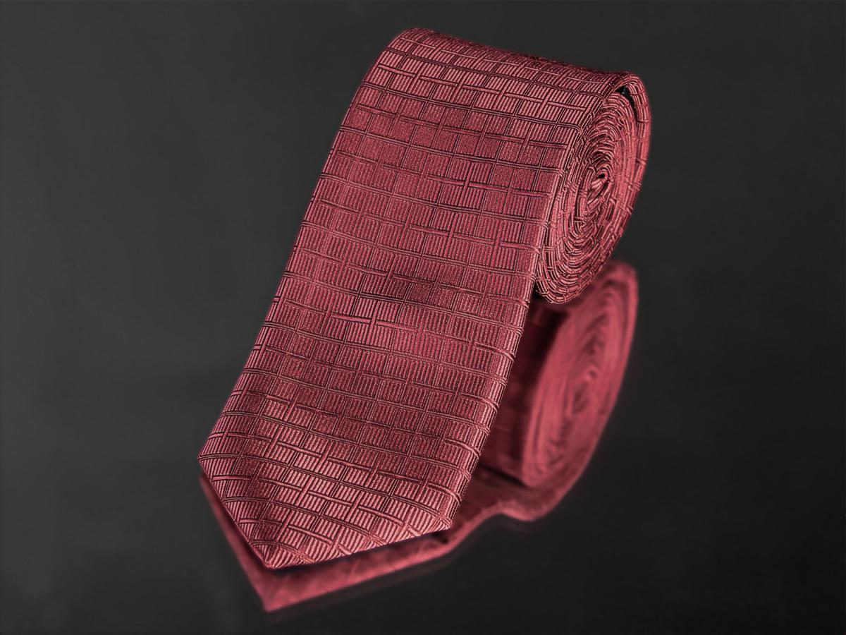 Kravata pánská AMJ, kostičkovaný vzor KU0918,tmavě červená