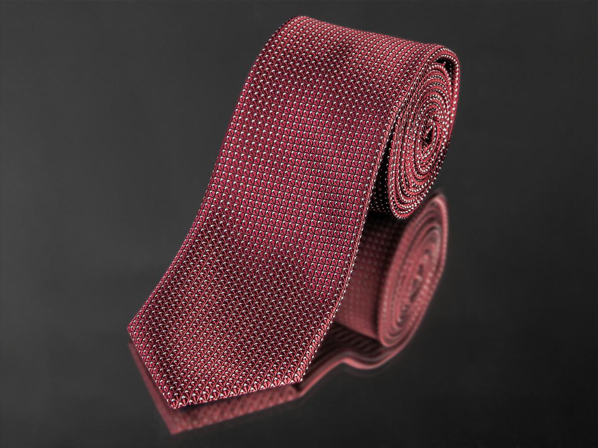 Kravata pánská AMJ, kostičkovaný vzor KU0954,tmavě červená