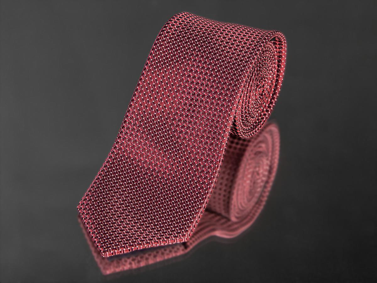 Kravata pánská AMJ, kostičkovaný vzor KU0993,tmavě červená