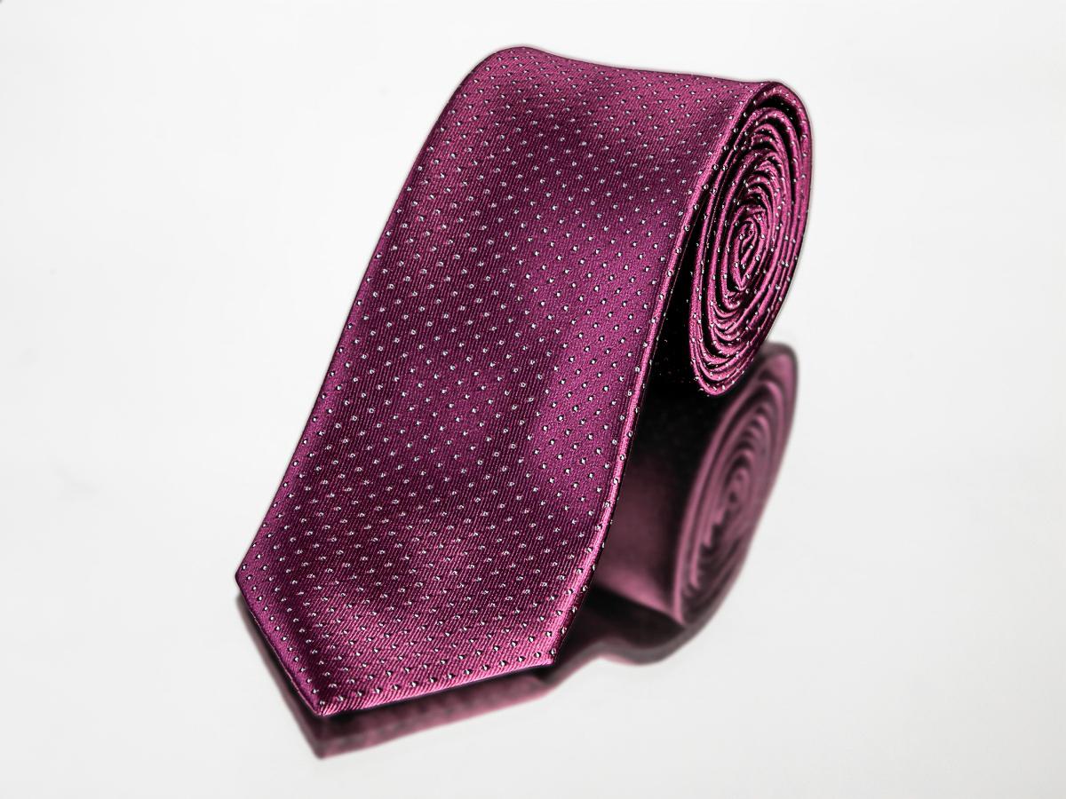 Kravata pánská AMJ, puntíkovaný vzor KU0996, fialová