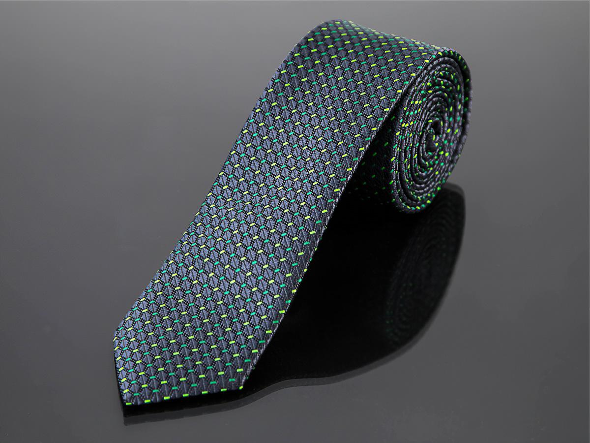 Kravata pánská AMJ úzká, tečkový vzor KI0331, zelená