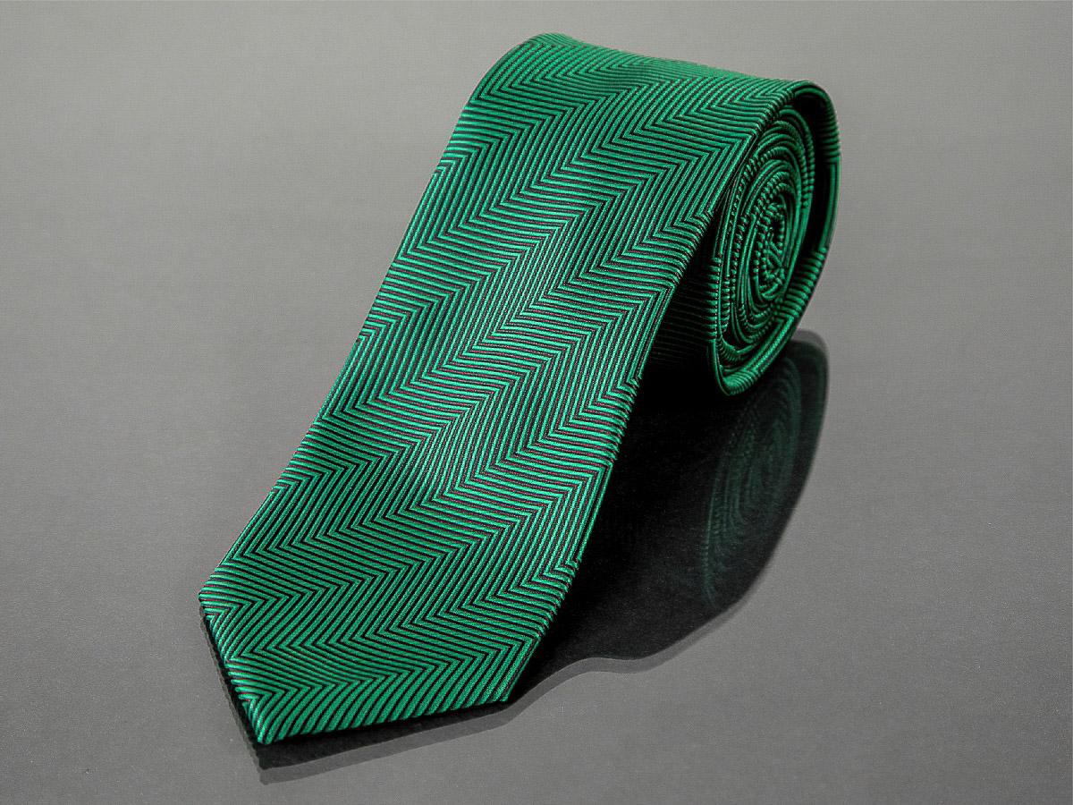 Kravata pánská AMJ, proužkovaný cik-cak vzor KU1003, zelená
