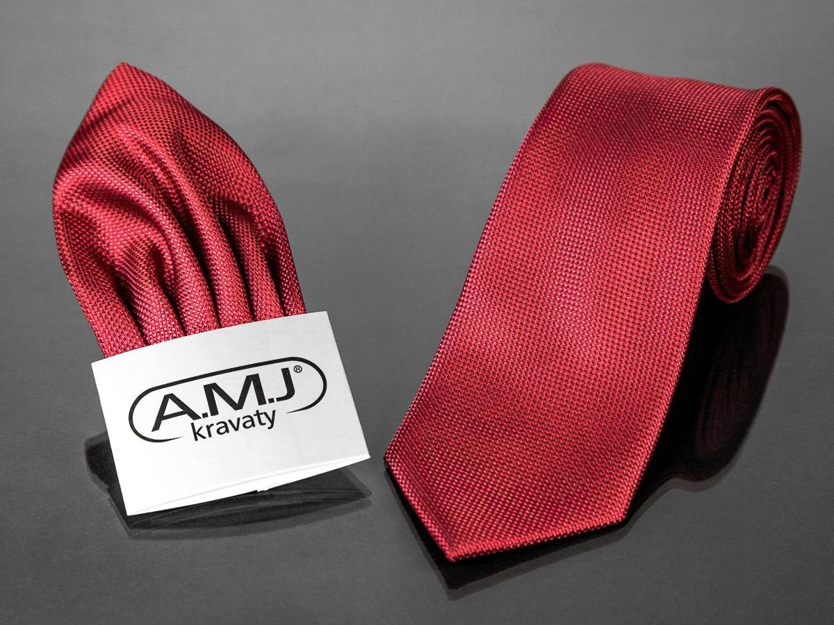 Kravata pánská s kapesníčkem AMJ, s puntíkovaným vzorem, KK0291, červená