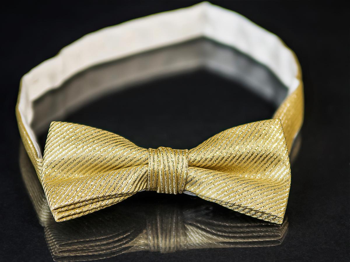 Motýlek pánský AMJ zlato stříbrný vzor MP027