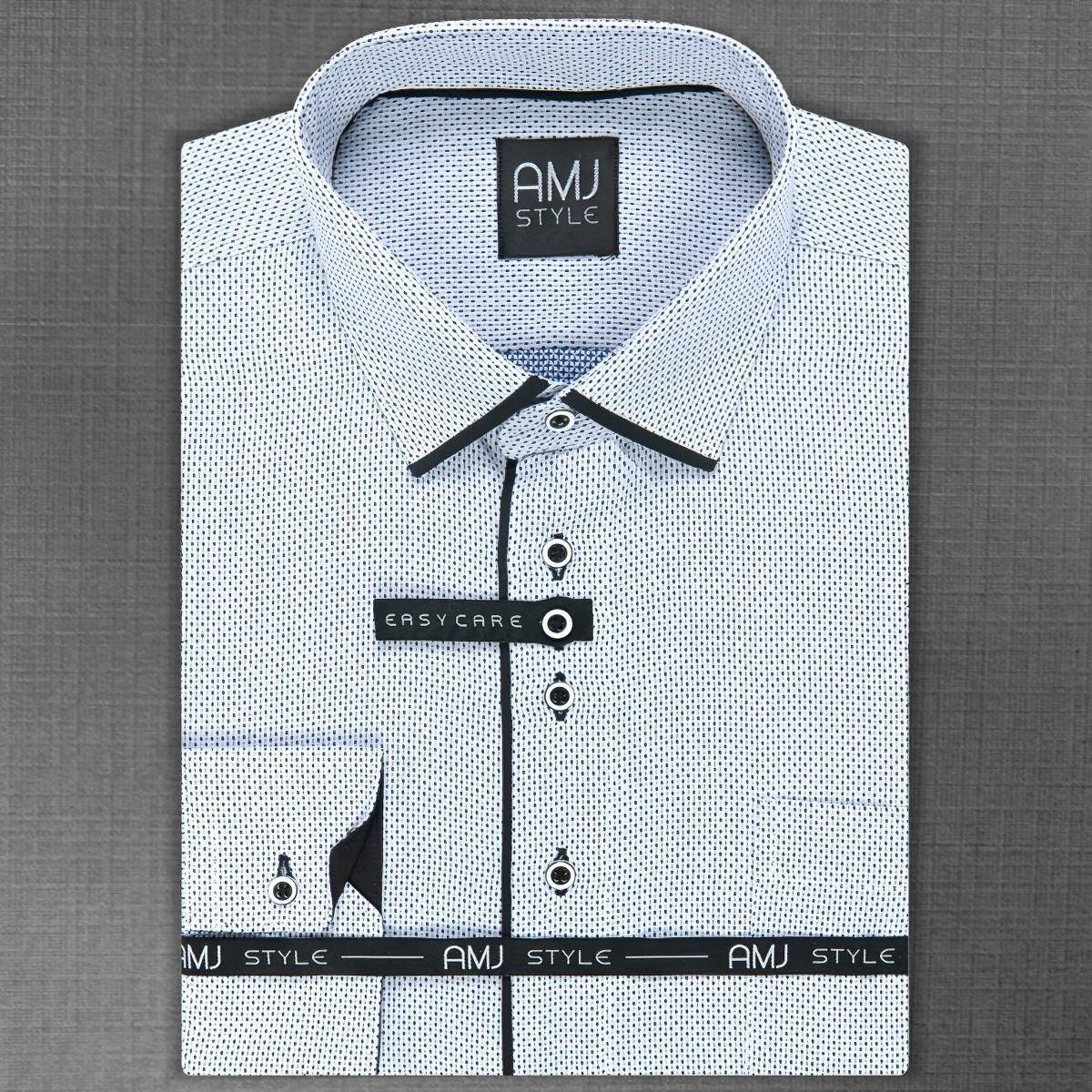 Pánská košile AMJ bílá puntíkovaná VDZ1004 25effa39cc
