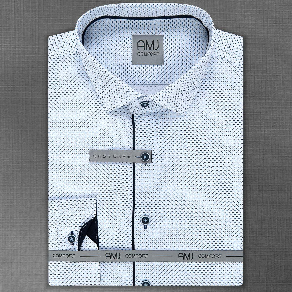 Pánská košile AMJ bavlněná, bílá čárkovaná VDBR1036, dlouhý rukáv